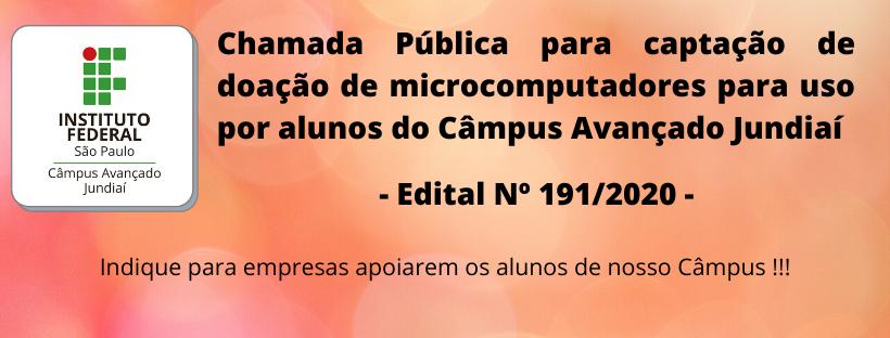Chamada Pública para captação de doação de microcomputadores para uso por alunos do Câmpus Avançado Jundiaí
