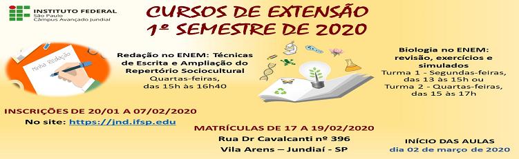 CURSOS DE EXTENSÃO 1º SEM 2020