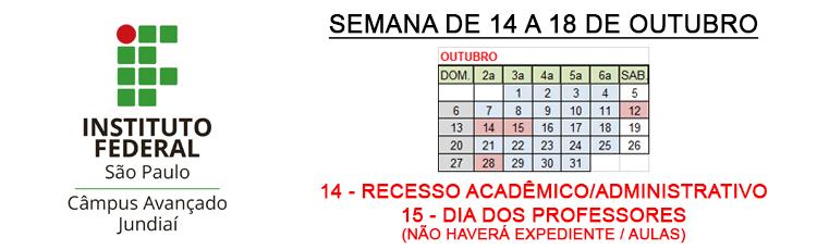 Recesso Acadêmico/Administrativo nos dias 14 e 15 de outubro de 2019